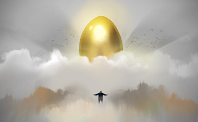 Digital illustration painting design style a businessman standing in front of huge golden egg, against heaven and sunlight.