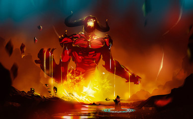 Poster Cuban Red Digital illustration painting design style a wizard summoning big monster from lava.