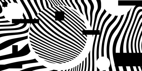 Black and white Psychedelic Linear Wavy Backgrounds