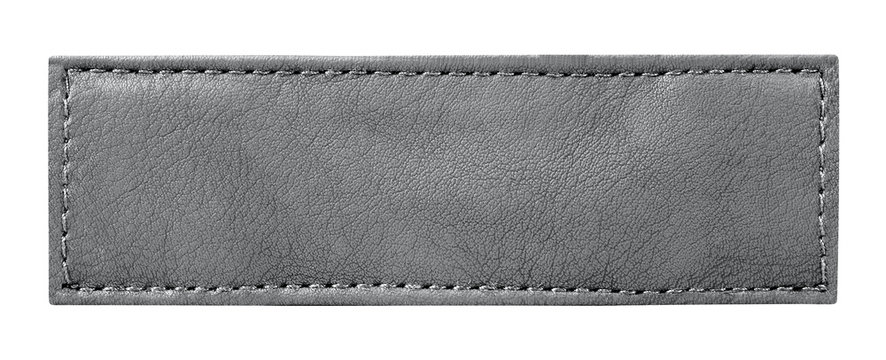close up of a jeans label leather isolated onwhite with clipping path