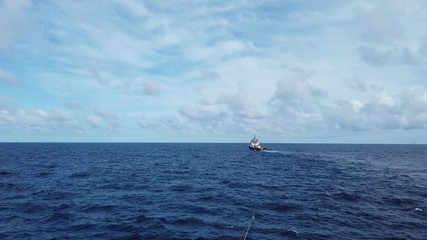 Fototapete - Offshore Supply Vessel For Oil Drilling Rig in The Middle of Ocean