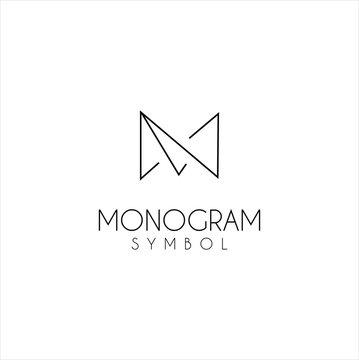 Monogram Letter M Logo With Thin Black Monogram Outline Contour. Modern Trendy Alphabet Initial M Design Vector Illustration.