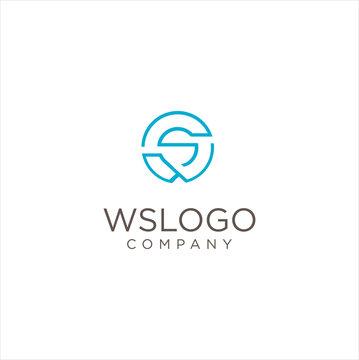 Initials Monogram Round Letter W S WS SW logo design Shape Circle Stock Illustration