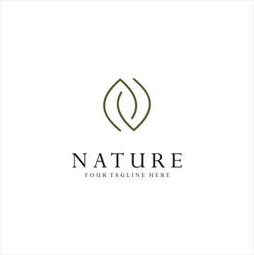 Monogram Letter N Leaf Logo Nature Logos Stock Illustration . Simple Letter N Organic Logo Design Natural