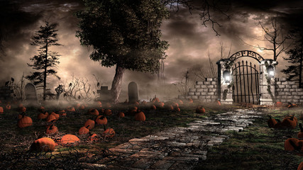 Pumpkins on the cemetery Wall mural