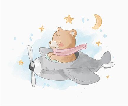 cute cartoon bear on air plain illustration