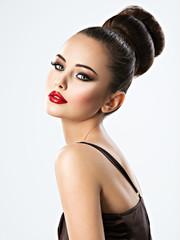 Beautiful sensual woman with creative hairstyle