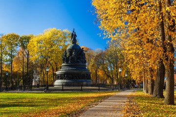 Autumn picturesque Kremlin park and the monument of Millennium of Russia (1862), Veliky Novgorod, Russia. Wall mural