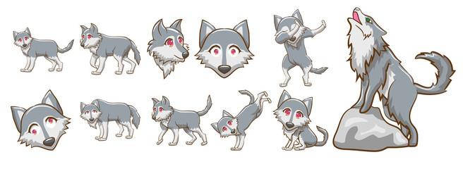 wolf vector set clipart design