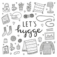 Set of doodle outline hygge icons in Scandinavian style and lettering isolated on white background. Nordic lifestyle poster.