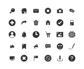 Web Interface solid icon set. Vector and Illustration.