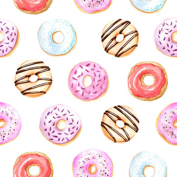 Seamless pattern with watercolor sweet and tasty donuts