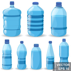 Set of realistic plastic bottle. Pure water. Health. Crystal For your design.