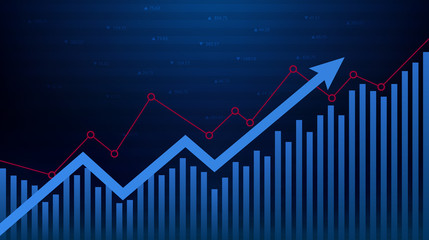 Abstract financial graph with up trend line and arrow in stock market on blue color background Wall mural