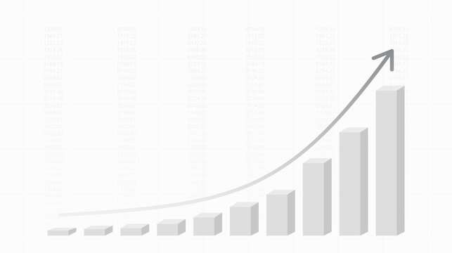 Abstract financial chart with uptrend line 3d graph and arrow  in stock market on black and white color background