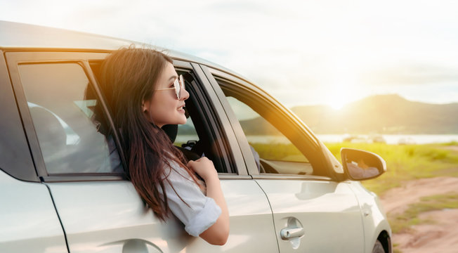 Enjoy Car travel of woman friends group driving with sunglasses journey at nature lake river in summer vacation road trip on holidays to destination, Traveler transportation vehicle people lifestyle