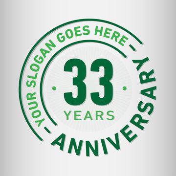 33 years anniversary logo template. Thirty-three years celebrating logotype. Vector and illustration.