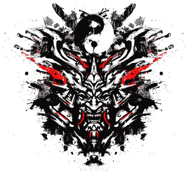 sinister toothy mask of the samurai
