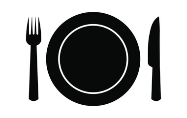 Restaurant logo sign with plate, fork and knife. Vector illustration icon.