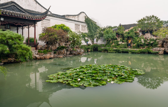 Pond and pavilion in Master of the Nets Garden or Wangshi Garden in Suzhou, China, among the finest gardens in China and UNESCO World Heritage Site.
