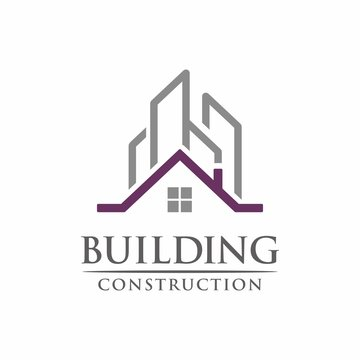 Real estate commercial and residential building logo design template vector illustration