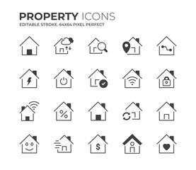 Property Icons Set. Editable Stroke.