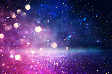 Fototapete - abstract glitter pink, purple and blue lights background. de-focused