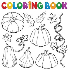 Photo sur Plexiglas Enfants Coloring book pumpkins collection 1