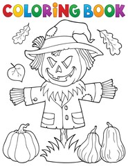 Photo sur Plexiglas Enfants Coloring book scarecrow topic 1