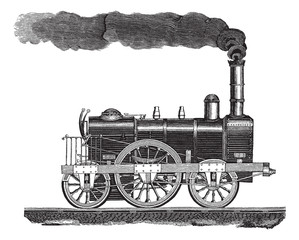Vintage engraving of a high-speed locomotive
