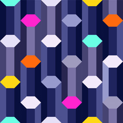 digital age: steel blue hexagon columns with colorful edges, abstract geometric seamless vector pattern design
