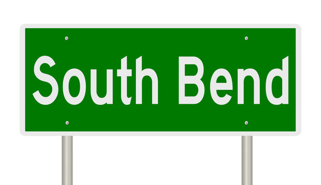 Rendering of a green road sign for South Bend Indiana