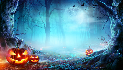 Wall Mural - Jack O' Lanterns In Spooky Forest At Moonlight - Halloween