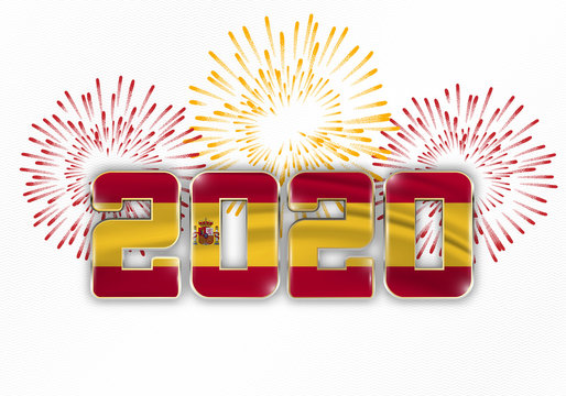 2020 New Year background with national flag of Spain and fireworks. Vector illustration.