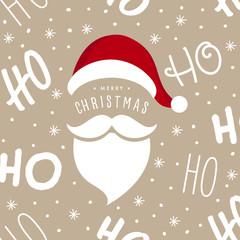 Ho ho ho Santa Claus laugh hat and beard seamless texture pattern background