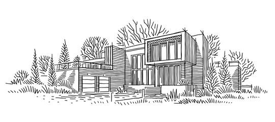 Obraz Architectural sketch of individual house. Architectural drawing. Line sketch of house. Vector.  - fototapety do salonu