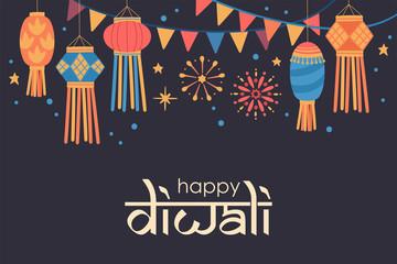 Diwali Hindu festival  cute background with traditional lanterns.