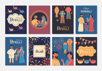 Diwali Hindu festival greeting card design set. Wall mural
