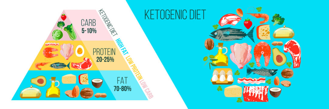Ketogenic diet. A large set of products for the keto diet. Keto pyramid. Vector illustration.