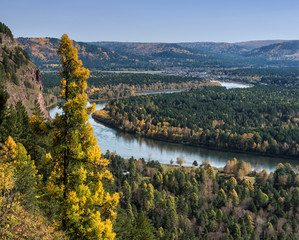 River, rock and autumn forest. View from above.