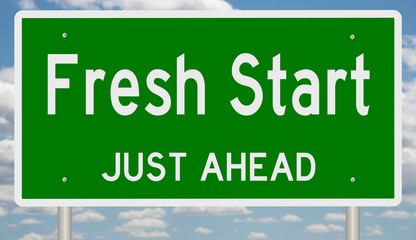 Rendering of a green 3d highway sign for Fresh Start