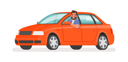 Fotobehang Cartoon cars Happy man in the car. Motorist driving a vehicle on an isolated background. Vector illustration