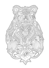 Coloring book art with cartoon bear and flowers