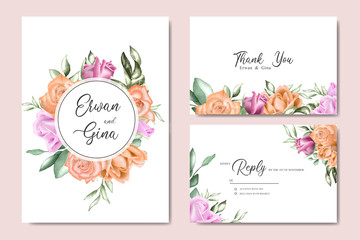 Decorative Wedding invitation card set with watercolor floral and leaves