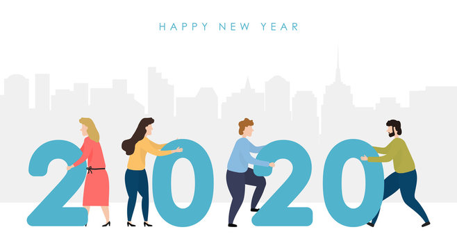 Man and woman hold numbers 2020 against the background of the city. People prepare to celebrate New Year and Christmas. Vector illustration.