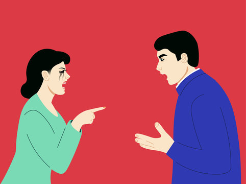 Man and woman having an argument.Another quarrel before the divorce. Flat vector illustration.