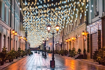 Moscow. Russia. The lantern in the city Christmas on the streets. Christmas lights Moscow streets. New year Moscow. A trip to Moscow during the winter holidays. Russian capital in winter. Wall mural