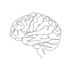 Continuous Line Drawing. Brain One Line Illustration. Minimalist Brain Design Contour Drawing. Brain Anatomy Concept. Vector EPS 10.
