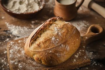 Foto auf AluDibond Brot Freshly baked traditional bread