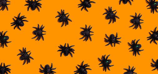 Halloween black spiders - overhead view flat lay